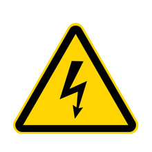 High Voltage Yellow Danger Sign Isolated On White With Clipping Path