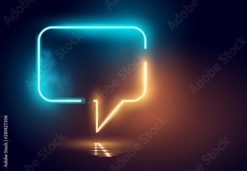Obraz Glowing Neon Speech Bubble Light - fototapety do salonu