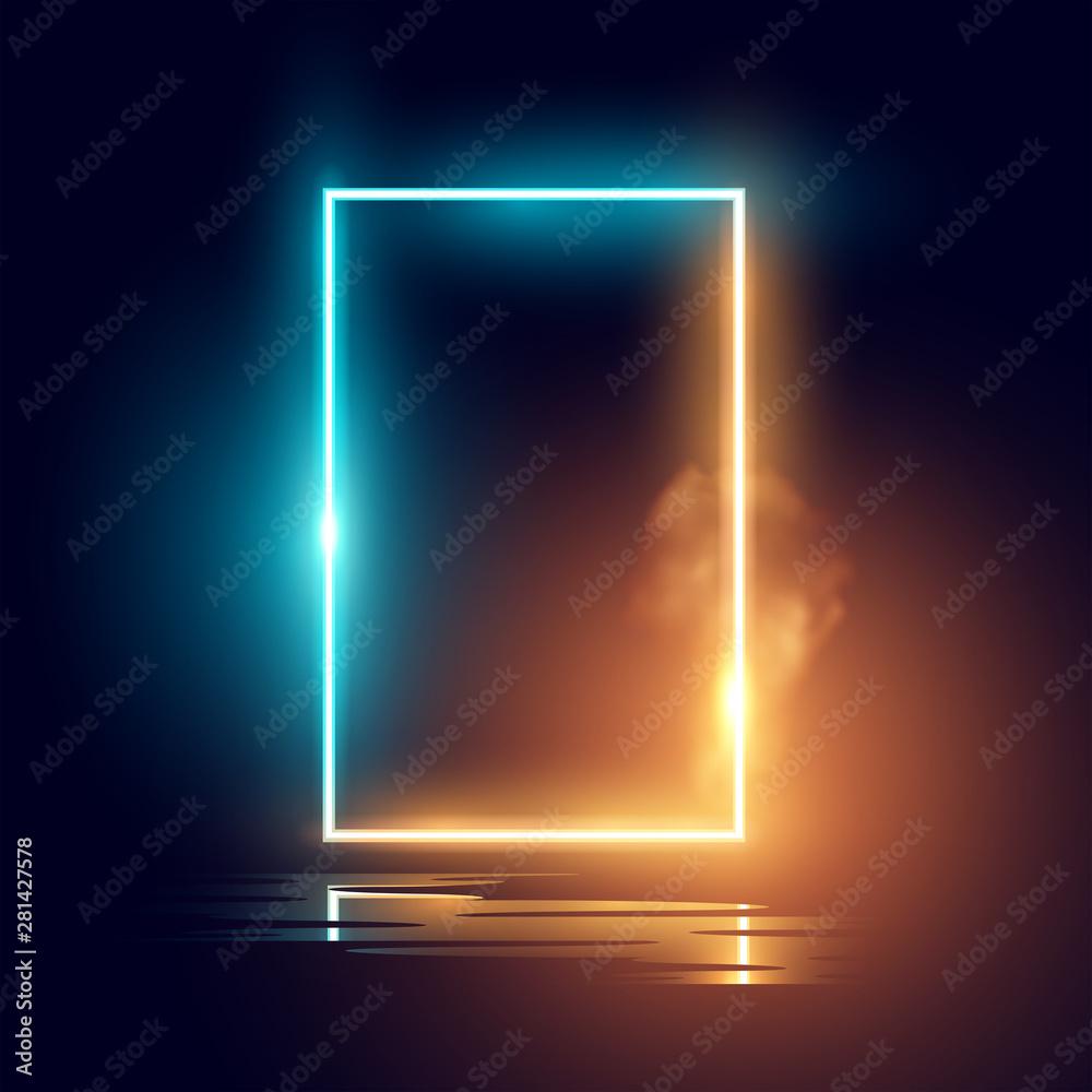 Fototapeta A glowing mood neon lighting frame vector effect.