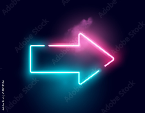 A glowing directional arrow neon sign. Vector illustration.