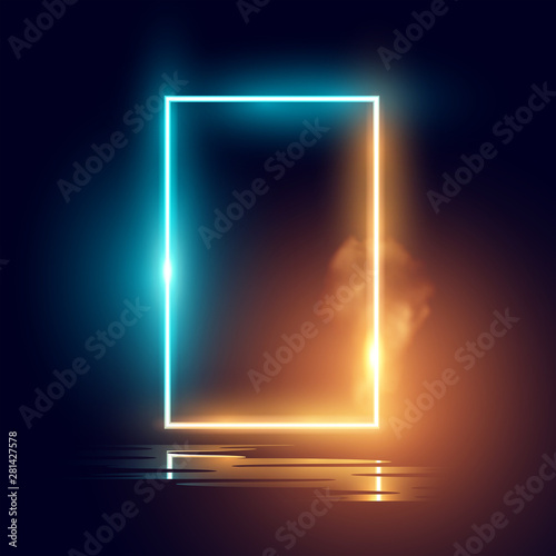 Fotobehang Licht, schaduw A glowing mood neon lighting frame vector effect.