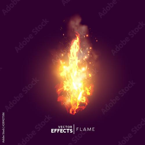 Obraz na płótnie Realistic Fire Flame Vector