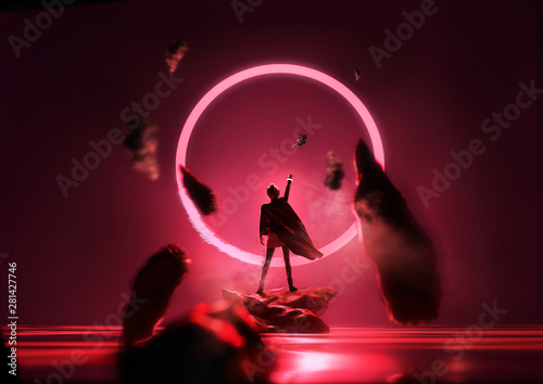 Garden Poster Bordeaux Futuristic fantasy glowing red loop with a person reaching up into it. Conceptual portrait 3D illustration