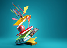 Back To School Education Background Concept With Falling And Balancing School Accessories And Items. 3D Render Illustration.