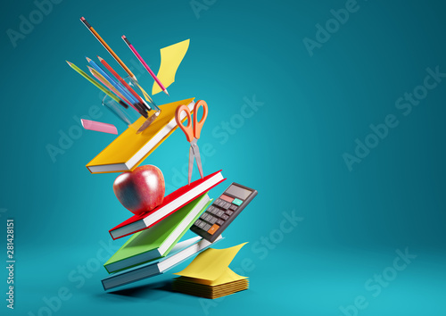 Fotografia, Obraz Back to school education background concept with falling and balancing school accessories and items