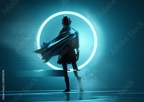 Obraz A futuristic space women astronaut standing in front of the camera with a glowing neon circle in the background. Conceptual people portrait 3D illustration. - fototapety do salonu