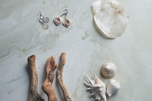 Sea Collection On Grey Marble ...