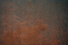 Close Up Of Old, Dirty And Corroded Metal Plate With Rusty Surface, Abstract Background Image Of Grungy, Filthy And Oxidized Iron Wall Showing Corrosion And Chemical Destruction Which Needs Removal