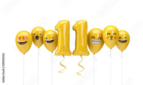 Fotografia  Number 11 yellow birthday emoji faces balloons. 3D Render