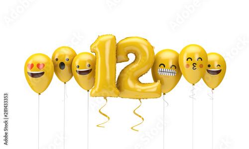 Fotografia  Number 12 yellow birthday emoji faces balloons. 3D Render
