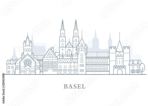 Staande foto Antwerpen Basel skyline, Switzerland - old town outline, city panorama with landmarks of Basel
