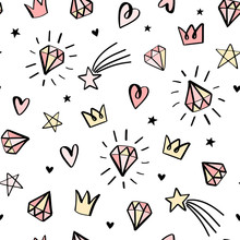 Hand Drawn Seamless Pattern With Doodle Diamonds, Crowns, Stars And Hearts. Cute Baby And Little Princess Design.