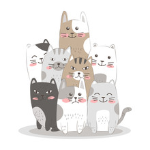 Adorable Kitten Illustration For Personal Project, Background, Invitation, Wallpaper And Many More