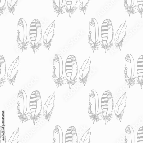 Mockingjay feather seamless pattern hand drawn sketch Canvas-taulu