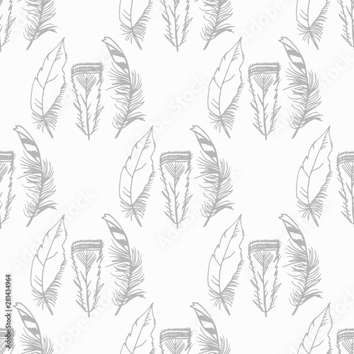 Mockingjay feather seamless pattern hand drawn sketch Tablou Canvas