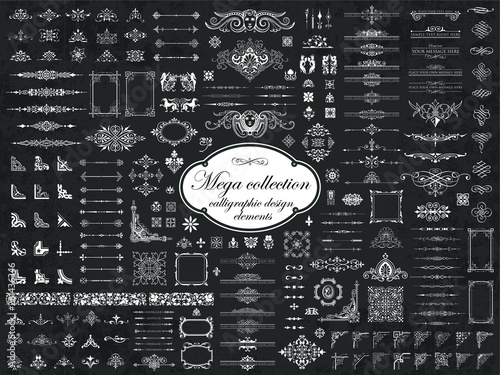 Valokuva  Mega collection of vector calligraphic design elements on chalkboard background