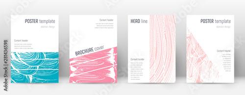 Obraz na plátně  Cover page design template. Geometric brochure lay