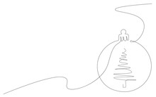 Christmas Background With Ornament Line Draw, Vector Illustration