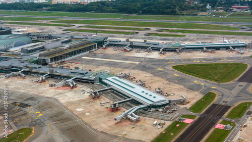 Aerial view of Singapore Changi Airport Canvas Print