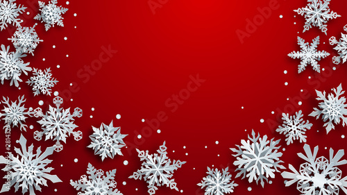 Obraz Christmas illustration of white complex paper snowflakes with soft shadows on red background - fototapety do salonu