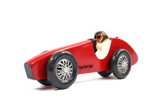 Wooden Racing Car Toys Vintage On White Background