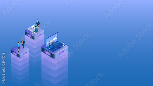 Business people working different platform in level position for Teamwork concept based isometric design Canvas Print