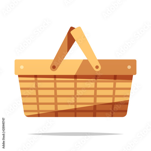 Fotografie, Obraz Picnic basket vector isolated illustration