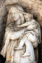 Madonna With Child, Detail Of A Mourning Sculpture, Mirogoj Cemetery In Zagreb, Croatia