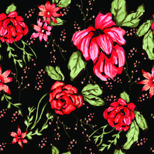 Vector Illustration Of A Seamless Floral Pattern In Spring For Wedding, Anniversary, Birthday And Party. Design For Banner, Poster, Card, Invitation And Scrapbook Rosas Roses