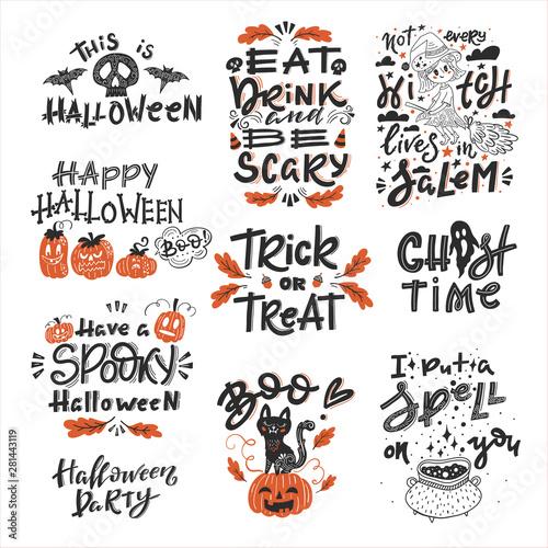 Fotografie, Obraz  Halloween set of lements with handwritten lettering