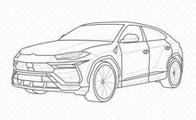 Vector Contour Car On Transparent Background. American Automobile Outline. Auto.