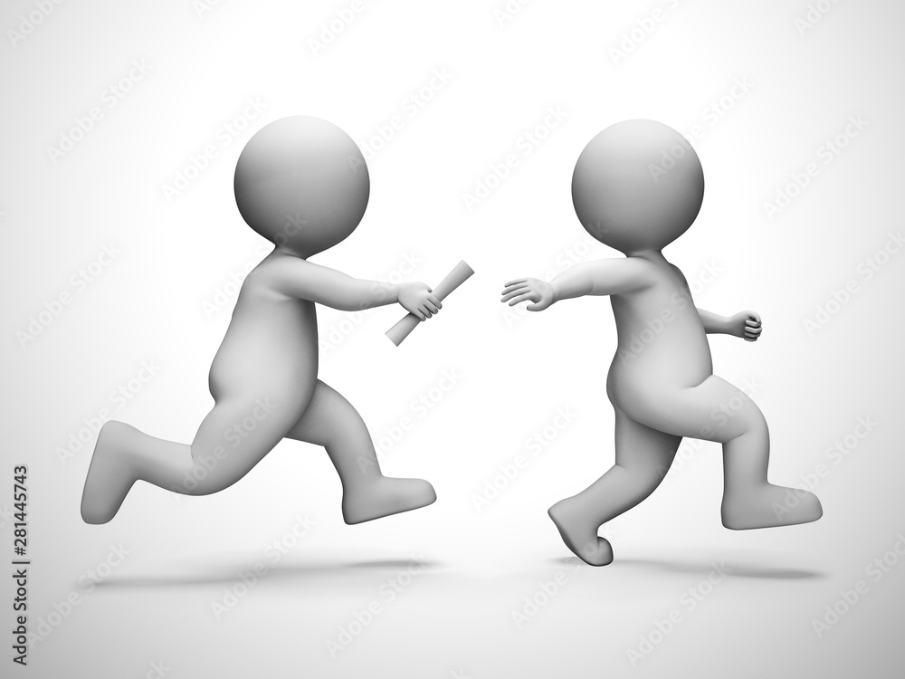 Fototapeta Relay race means collaboration synergy and partnership - 3d illustration