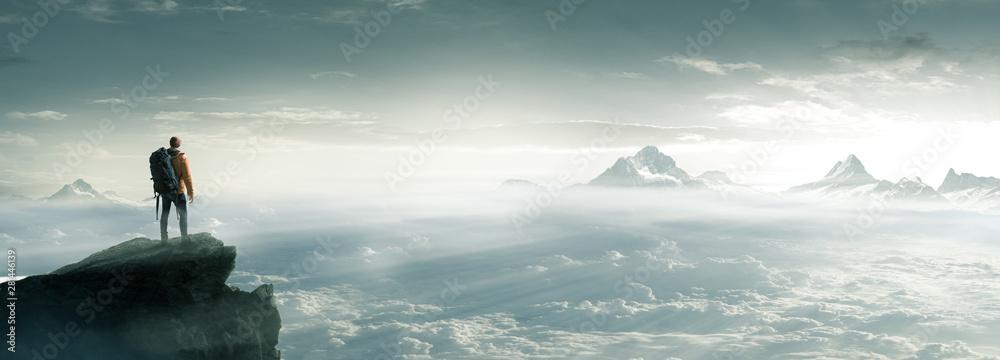 Fototapety, obrazy: Bergsteiger - Gipfel - Freiheit