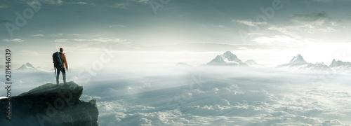 Tablou Canvas Bergsteiger - Gipfel - Freiheit