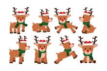 Vector Set Cartoon Cute Reindeer Isolated