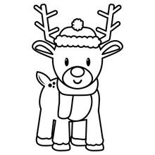Vector Cartoon Cute Reindeer Isolated