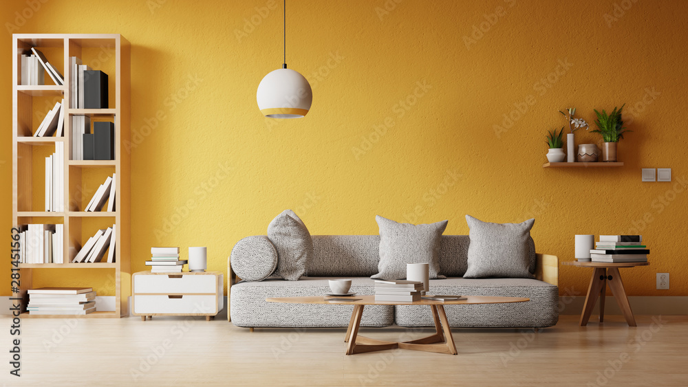 Fototapety, obrazy: Interior poster mock up living room with colorful white sofa . 3D rendering.