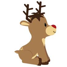 Vector Cartoon Cute Reindeer I...