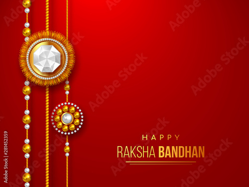 Happy Raksha Bandhan holiday background with decorated rakhi фототапет