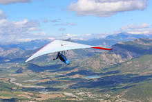 Hang Glider Flying On The Chabre Mountain, France