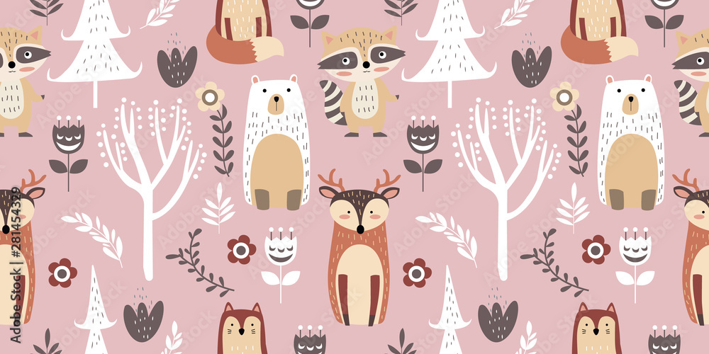 Fototapeta adorable animal illustration seamless pattern for kids project, fabric, scrapbooking, crafting, invitation and many more