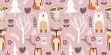 Fototapeta Fototapety na ścianę do pokoju dziecięcego - adorable animal illustration seamless pattern for kids project, fabric, scrapbooking, crafting, invitation and many more