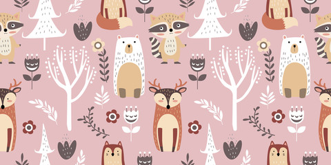 adorable animal illustration seamless pattern for kids project, fabric, scrap...