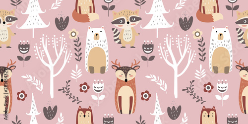 Vászonkép adorable animal illustration seamless pattern for kids project, fabric, scrapboo