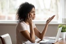 Mixed Race Woman Having Diffic...