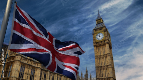 Beautiful  United Kingdom waving flag and behind the famous Big Ben Wallpaper Mural