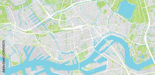 Foto auf AluDibond Rotterdam Urban vector city map of Rotterdam, The Netherlands