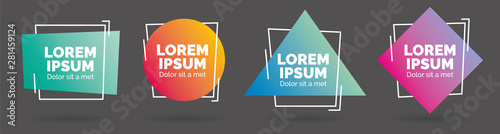 Set of modern abstract vector banners. Geometric shapes of different colors with outline design - Vector