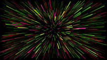 A Dark Background With Abstract Lines Coming Out Of The Center Of Vere And Pink Colors