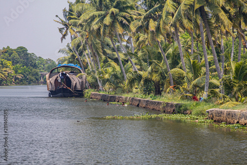 Houseboat moored on the Kerala backwaters Canvas Print